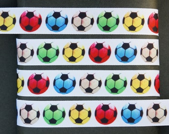 "10Yd Colorful Soccer  7/8"" White Grosgrain Ribbon"