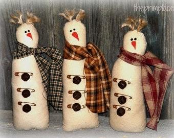 Primitive Snowman Bowl Fillers, Ornies, Tucks