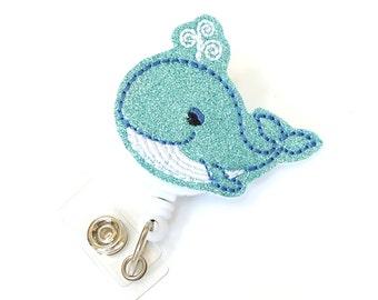 Glitter Whale - Felt Badge Holder - Cute Badge Reels - Retractable ID Badge Clips - Unique Badge Pulls - Nurse Badge Reels - BadgeBlooms