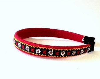 FALL SALE, Embroidered Fabric Headband - Boho Flower Hair Accessory - Red & Black Hair Band