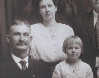 Exquisite Large Edwardian Family Photo - Three Generations - Antique Paper Ephemera - Parents, Child, Grandparents - Maryville, Missouri