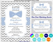 Little Man Baby Shower Invitation - Boy Baby Blue Gray Mister Bow Tie Sprinkle Free Diaper Raffle Ticket Book Request Card Peronalized Print