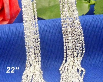22 inch  (1pc)- Sterling Silver 1mm COLUMN Necklace Chains - .925 stamped -lobster clasp - Sterling Silver Stamped - Bulk - Column and Ball
