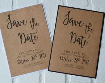 Save the Date Cards kraft save the dates kraft black modern chic save the date card kraft white save the date wedding save the date cards