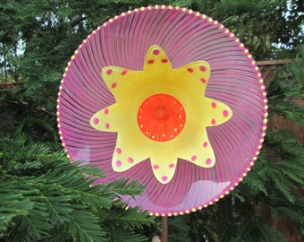 Big & Colorful Yard Art - Glass Plate Flower Garden Art, Hand Painted Glass Flower, Garden Art, Glass Garden Sculpture, Home Decor