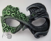 Grey Dragon with Green Flames Fire Dragon Mask