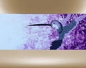 hummingbird original impasto art painting textured plum / white 40x16 FREE SHIP