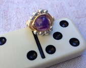 Orbit Ring purple glass bead - CUSTOM FOR LIZ