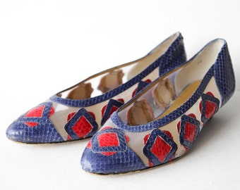 60s vintage blue red snakeskin leather sheer mesh low heel pumps shoes Sz 36 6