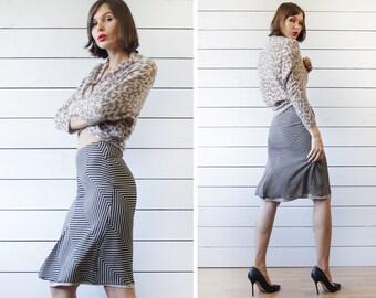 SPORTMAX by MaxMara vintage black beige stripe pure silk high waist gored pencil skirt XS S