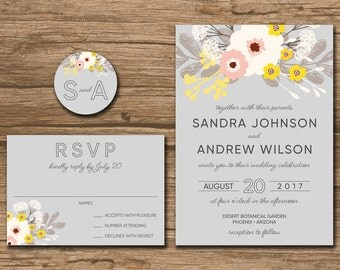 Flower Wedding Invitation Suite, Response Card, Monogram - PRINTABLE files - romantic wedding, flowers, boquet - Sandra