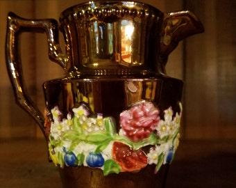 Vintage 1800's English Elegant Design Copper Lustre Pitcher Creamer Jug with Raised Relief Colorful Floral Details Luster
