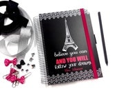 personalizable 18 months planner eiffel tower Paris - hot pink with black and white damask pattern believe you can quote A5 planner - A5-91