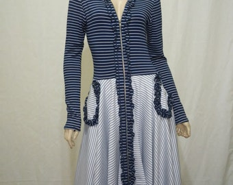 Zipper front combination stripe dress.