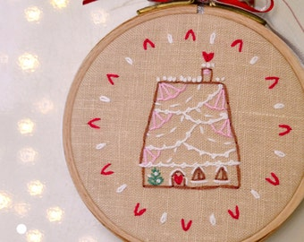 Holiday embroidery, hand embroidery patterns, DIY gift, Gingerbread house #2 Holiday collection by NaiveNeedle