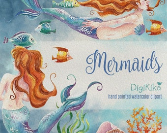 Mermaids Watercolor Clipart, Hand Painted Watercolor Clip Art - Watercolor Sea Underwater Illustration, seaweed, fish, corals  blue, orange.