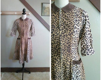 20% OFF / In the Jungle 1950s Brown and Purple Leopard Print Zip Front Dress with Corduroy Trim Detail