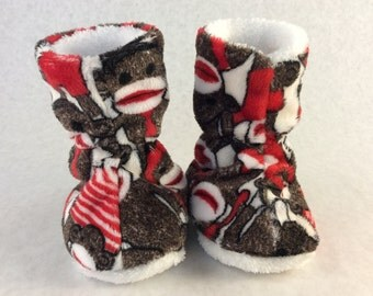 Minky sock monkey  slippers with fuzzy warm liner for girls