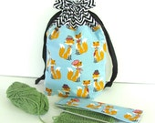Foxes Knitting Project Bag, Medium Tote Bag, DPN Needle Holder, Drawstring Knitting Bag, - Foxes with Chevron Gift  for Knitters