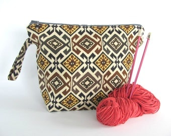 Knitting Bag, Project Bag, Aztec Pattern Wide Mouth Zipper Wedge Crochet Bag, Zippered Toiletries Pouch, Gift for Dad