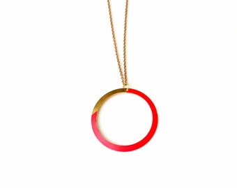 Geometric Pink Circle Necklace.              Asymmetrical Geometric Necklace.    Minimal Modern Jewelry with a Charitable Donation