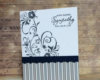 Thinking of you, Sympathy card, Handmade card, greeting card, Stamped design