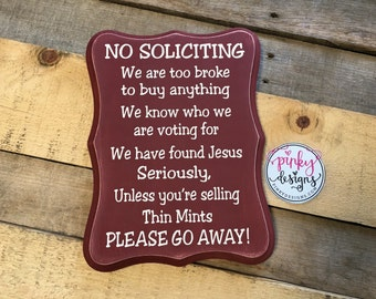 No Soliciting Sign | Funny No Soliciting Sign | No Soliciting Wood Sign | Girl Scout Cookies | Thin Mints