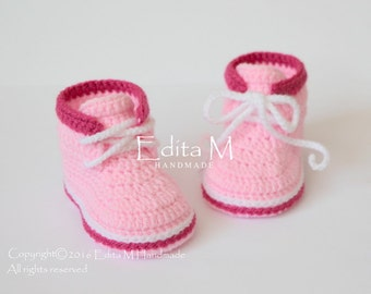 Crochet baby booties, baby shoes, boots, baby girl sneakers, pink shoes, 0-3, 3-6 months, baby shower, announcement, reveal, gift for baby