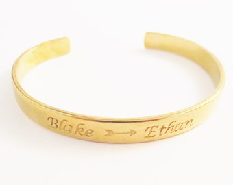 Personalized Gold Handstamped Bangle, Personalized Wording Names Dates, Custom Design Your Own, Quote Phrase