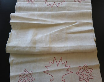 Two antique homespun linen show towels with redwork embroidery