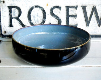 Vintage 1990 English DENBY Black Bistro Pottery Serving Pasta Bowl French Country Rustic Farmhouse Art Deco Dining Victorian Cottage Table
