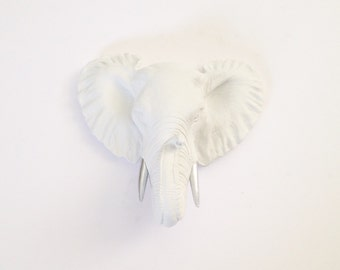 CUSTOM White w/ Silver tusks Small Faux Taxidermy elephant head wall mount / wall hanging / unique gift / nursery decor / office decor /