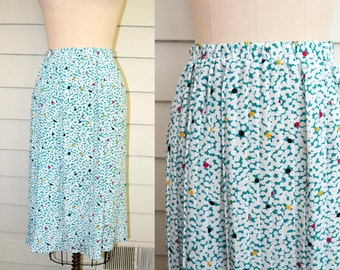1980s pleated print midi skirt / Large to Extra Large Plus Size vintage polka dot skirt in green, white, black, yellow, pink / elastic waist