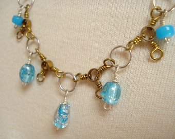 Turquoise Color Glass Beads with Brass Fish Weight Necklace