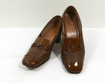 PENALJO Brown and Brown Patent Leather Pumps Size 6.5M 6-1/2 B
