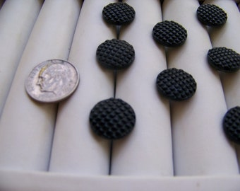 Set of 8 Vintage Small Black Glass Shank Buttons Textured Tops