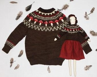 Unisex Child's Brown Toadstool Fairisle Icelandic Yoked jumper with matching ragdoll, sweater, 100% Wool, handmade dolls, ragdolls