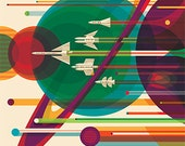 Grand Tour 2016 NASA/JPL Space Travel Poster Space Tourism Sci Fi Space Solar System Planets Retro Art