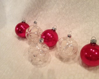Six Clear and Red Vintage Christmas Ornaments