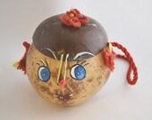 Vintage 1950s Coconut Head Handbag Purse Retro Hawaiian Tiki Style