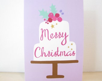 Christmas Cake Greeting Card, Blank Holiday Note Card, sugar plum, figgy pudding, fruit cake, festive winter holly berries, stars, lavender