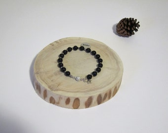 Black Onyx and Sterling Silver Bracelet with Love Charm