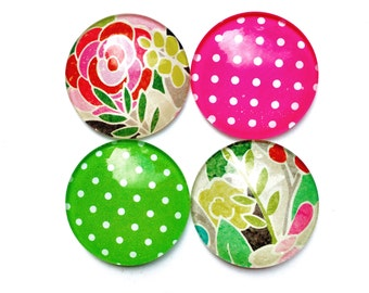 Glass Magnets - Refrigerator Magnets - Office Magnets - floral magnets - polka dot magnets - Decorative Magnets - pretty magnets