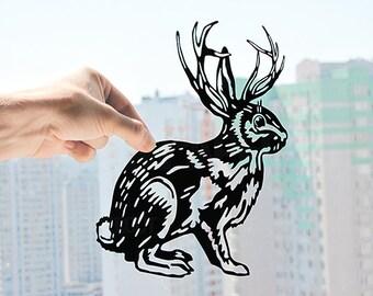 Rabbit with Deer Antler - Handmade Original Paper Cut Home Decor Gift - UNFRAMED
