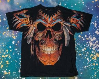Navajo Skull T-Shirt Men's Size L