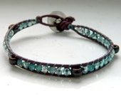 Plum Brown Leather Dark Purple Ceramic Mint Seafoam Green Silver Glass Beads Wrap Bracelet - Inspired by Shadowhunters