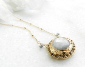 SALE moonstone necklace, raw diamonds, gold necklace, gold filled, diamond necklace, satellite chain, druzy gold