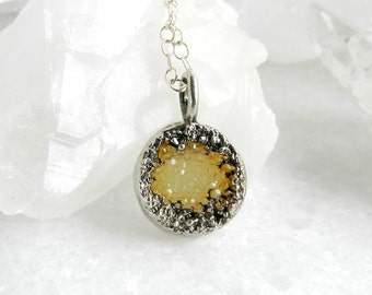 druzy necklace, yellow druzy, layering necklace, round pendant, silver necklace, sterling silver, dainty, minimal jewelry