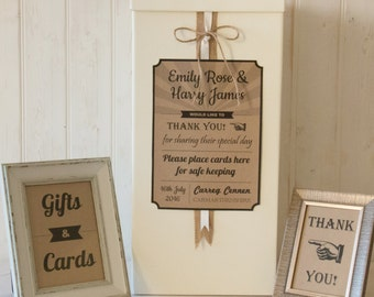 Personalised Wedding Card Post Box Hessian twine RETRO Gifts & Cards SIGNS
