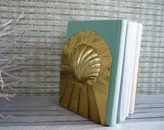 Vintage Mid Century Modern Brass Seashell Bookends, Nautical Office Decor
